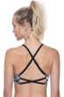 Free Sport Off Track Black and White Mesh Strappy High Neck Bikini Top
