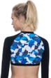 Free Sport Gazzetta Blue Strappy High Neck Long Sleeve Cropped Rash Guard